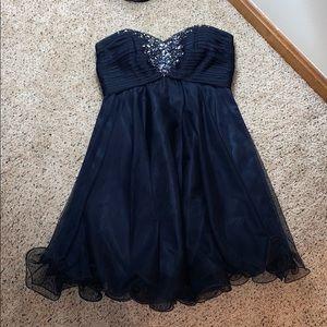 Xscape Navy Blue Jeweled Cocktail/Prom Dress - 2